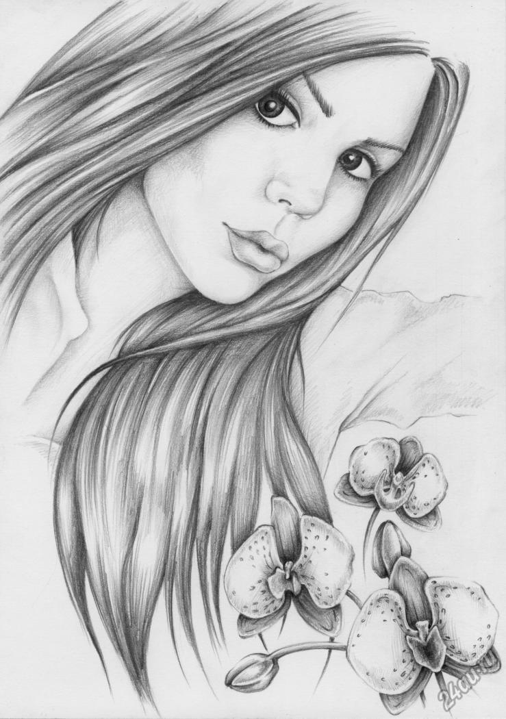 Красивые картинки карандашом девушек и девочек - подборка 15