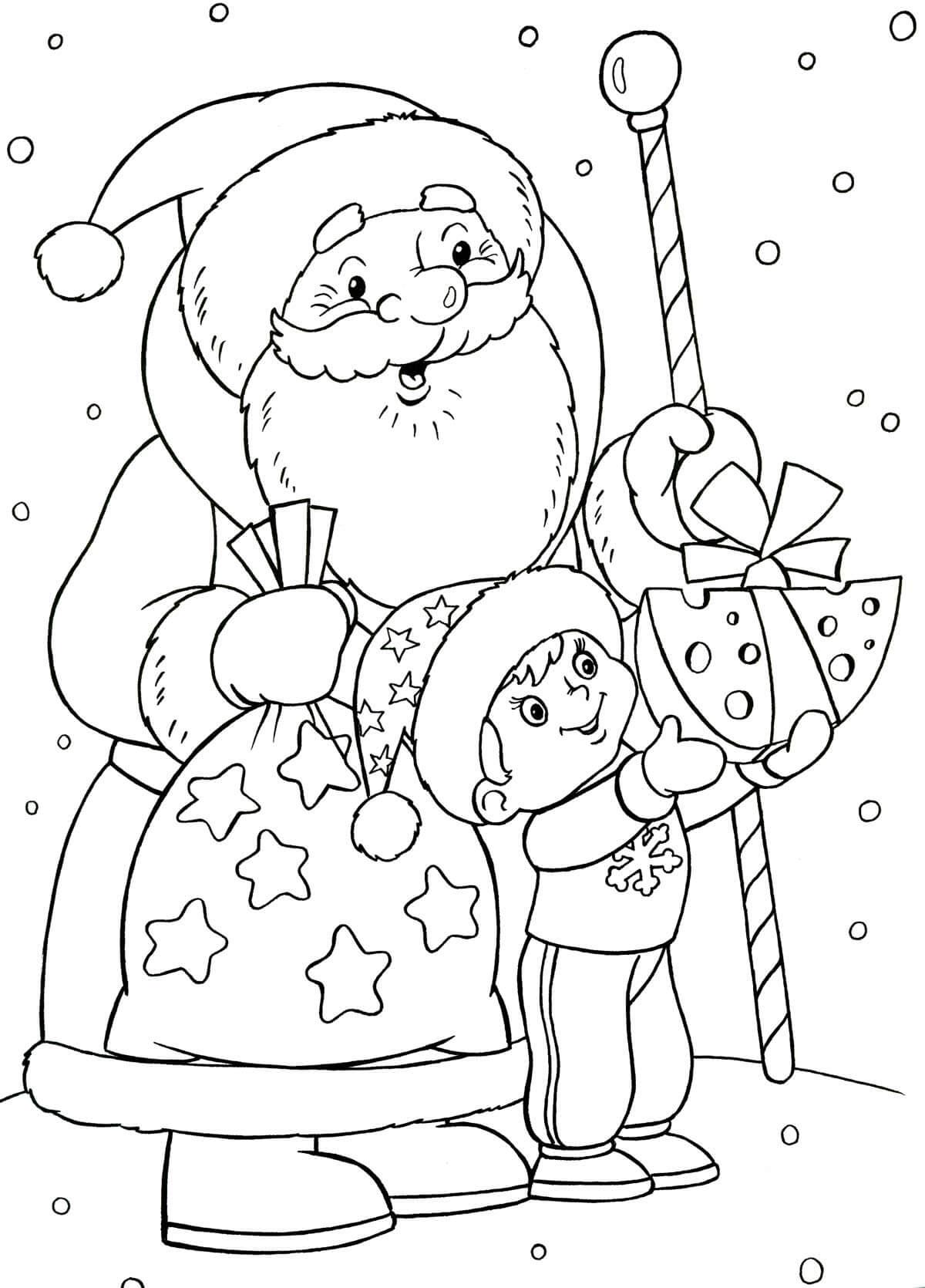 Лучшие новогодние картинки для детей для срисовки - подборка 1