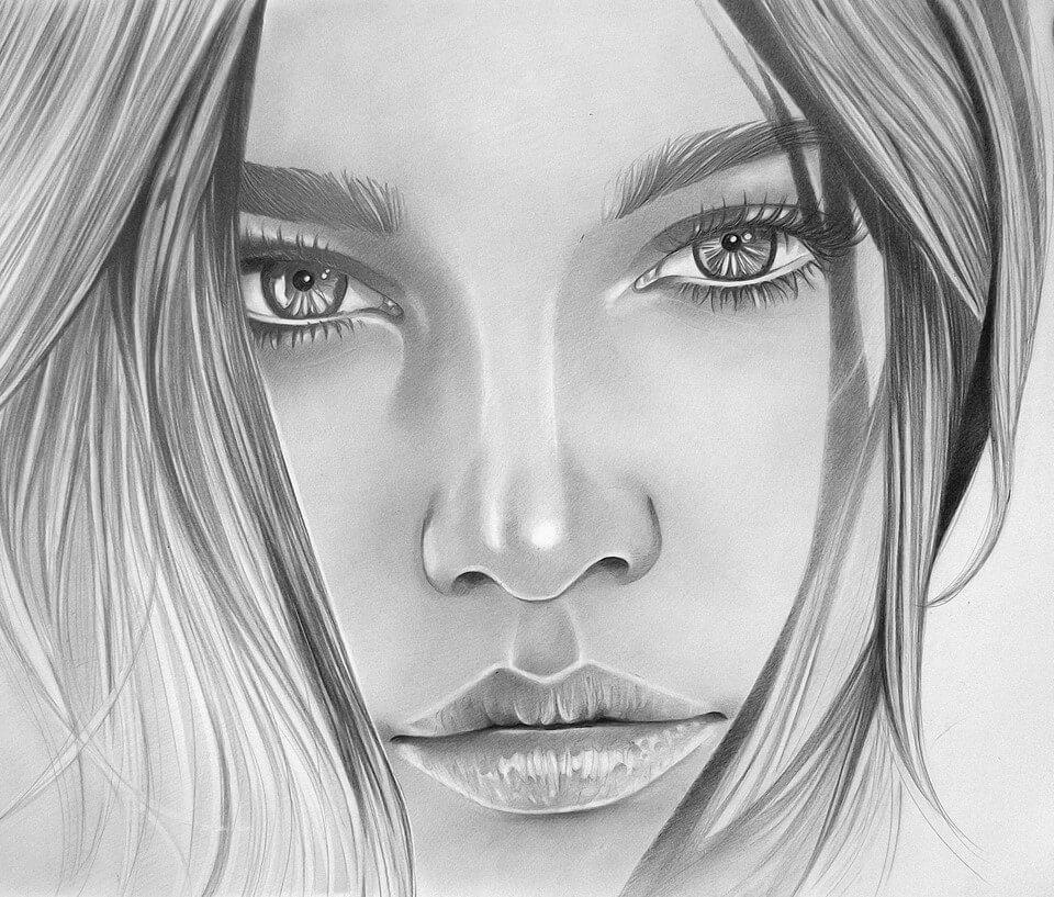 Красивые картинки карандашом девушек и девочек - подборка 1