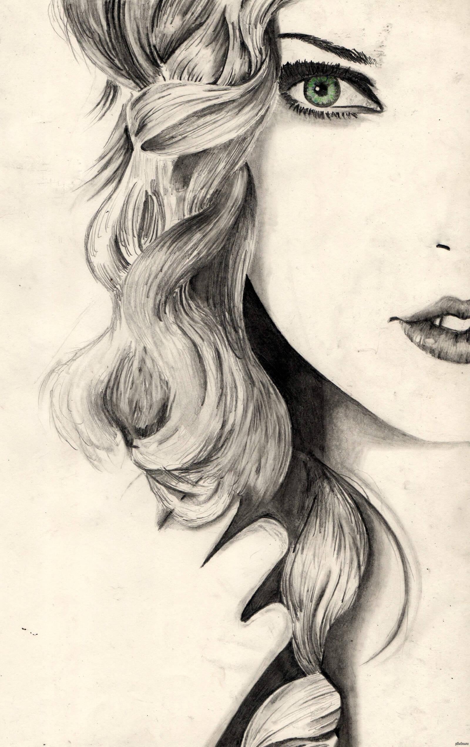Красивые картинки карандашом девушек и девочек - подборка 5