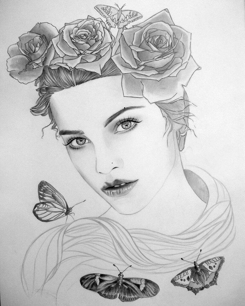 Красивые картинки карандашом девушек и девочек - подборка 4