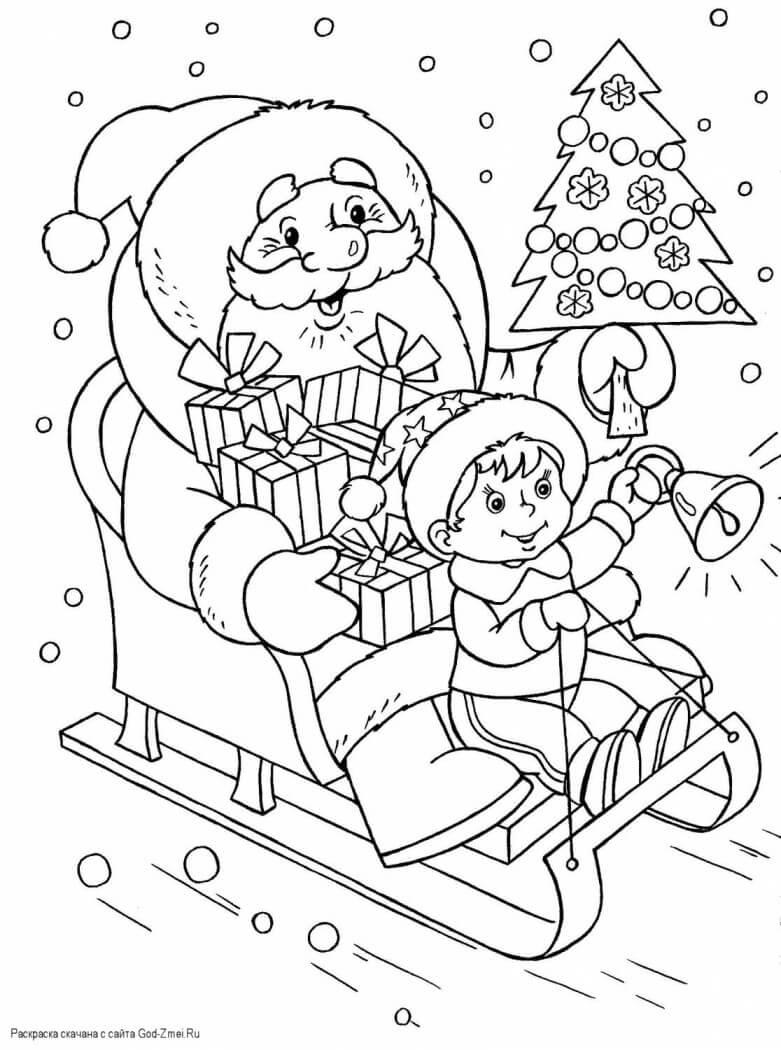 Лучшие новогодние картинки для детей для срисовки - подборка 5