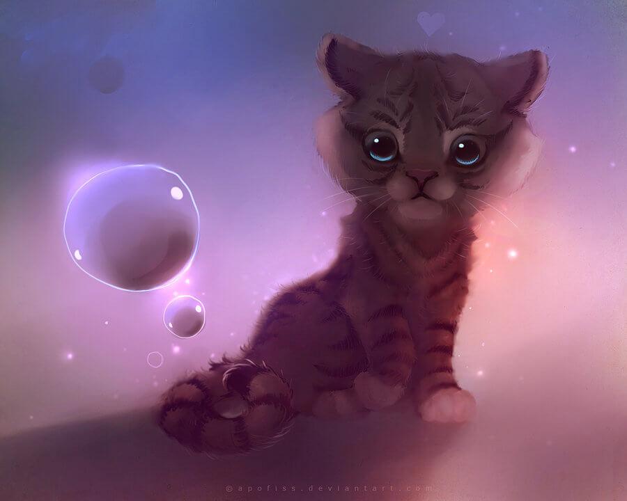 Прикольные и милые арт картинки котиков и кошек - подборка 2