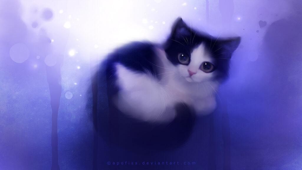 Прикольные и милые арт картинки котиков и кошек - подборка 10
