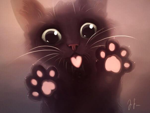 Прикольные и милые арт картинки котиков и кошек - подборка 19