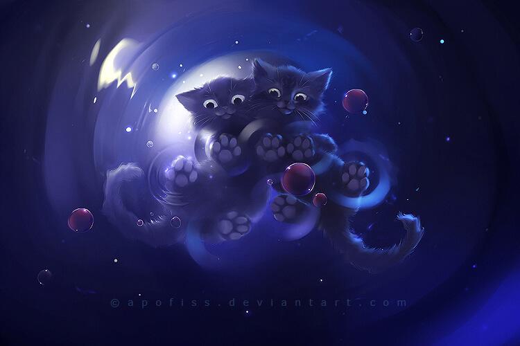 Прикольные и милые арт картинки котиков и кошек - подборка 11