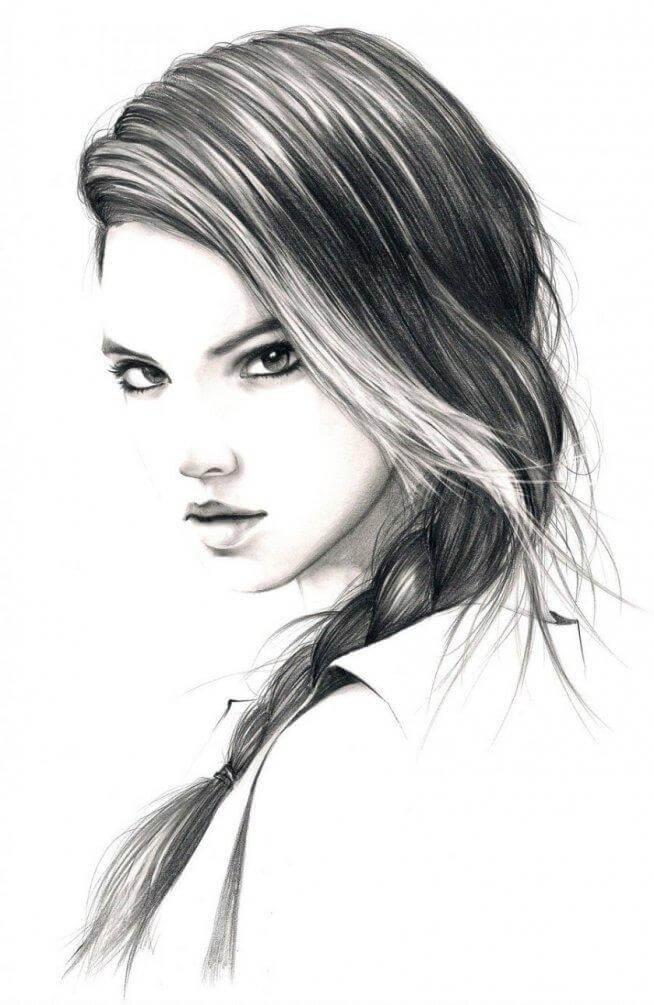 Красивые картинки карандашом девушек и девочек - подборка 9
