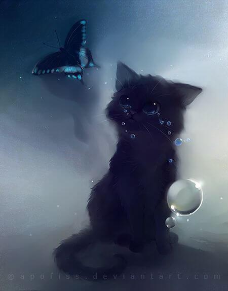 Прикольные и милые арт картинки котиков и кошек - подборка 14