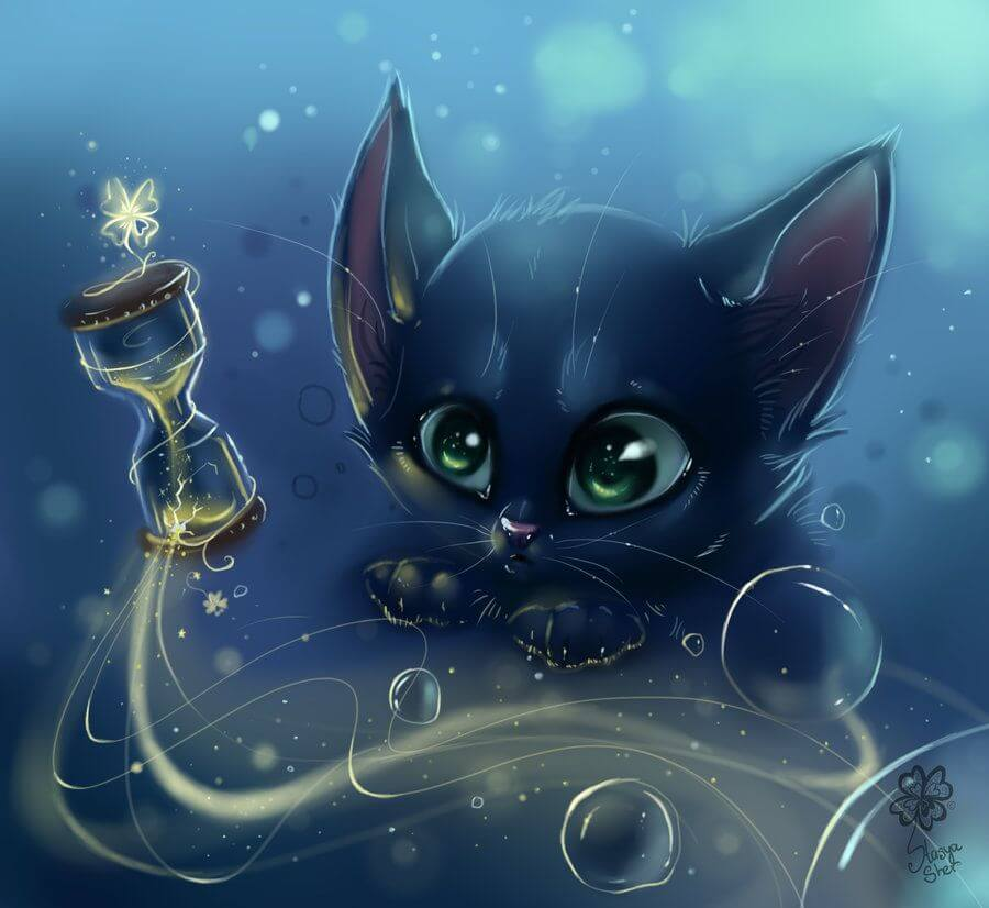 Прикольные и милые арт картинки котиков и кошек - подборка 16