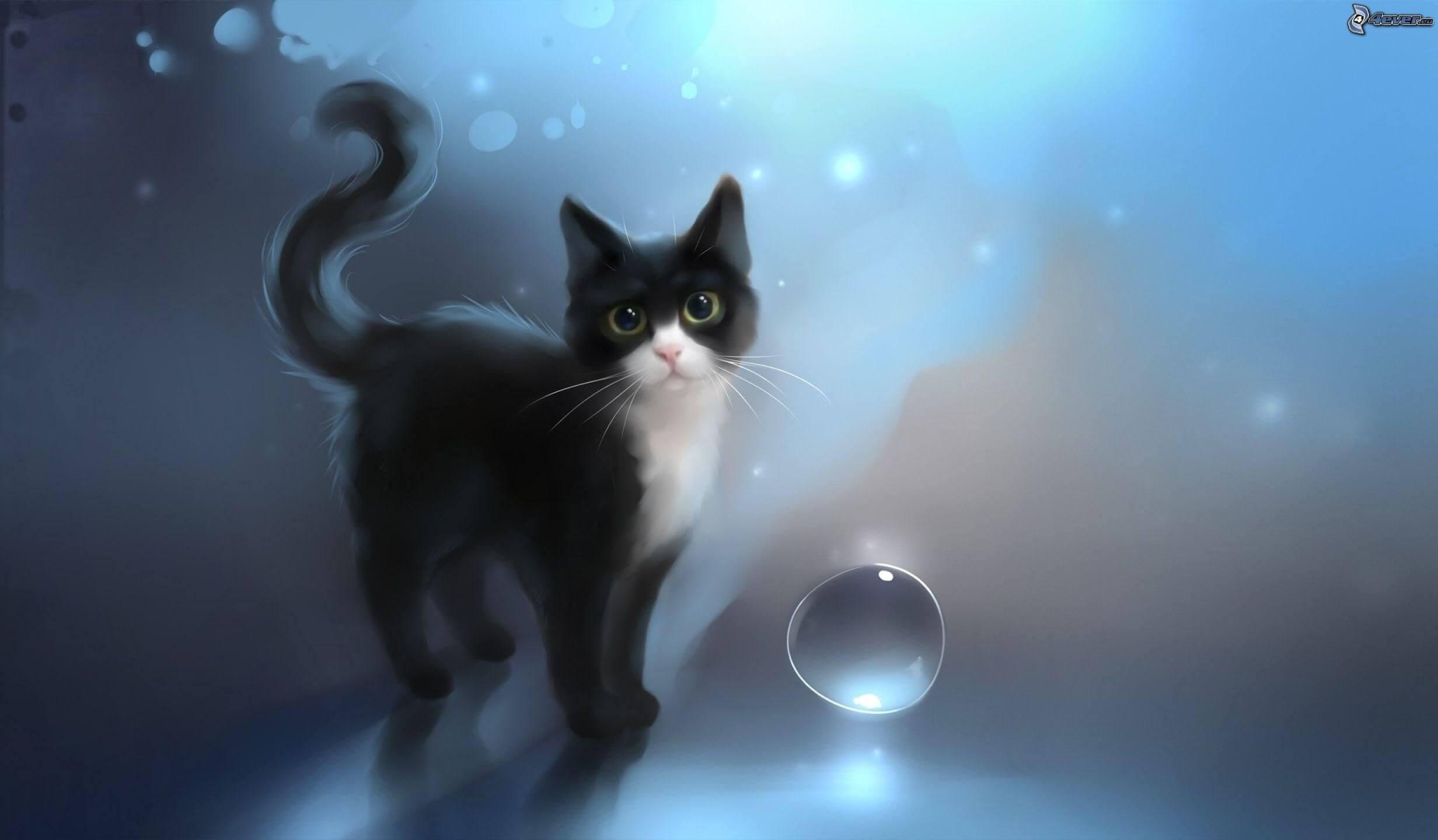 Прикольные и милые арт картинки котиков и кошек - подборка 23
