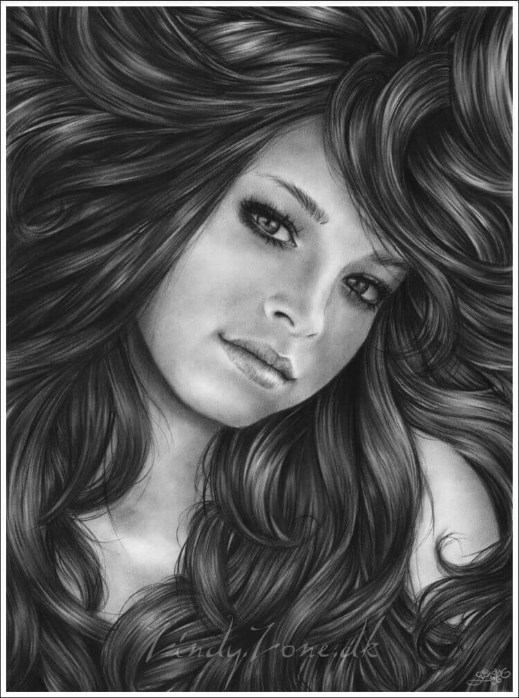 Красивые картинки карандашом девушек и девочек - подборка 10
