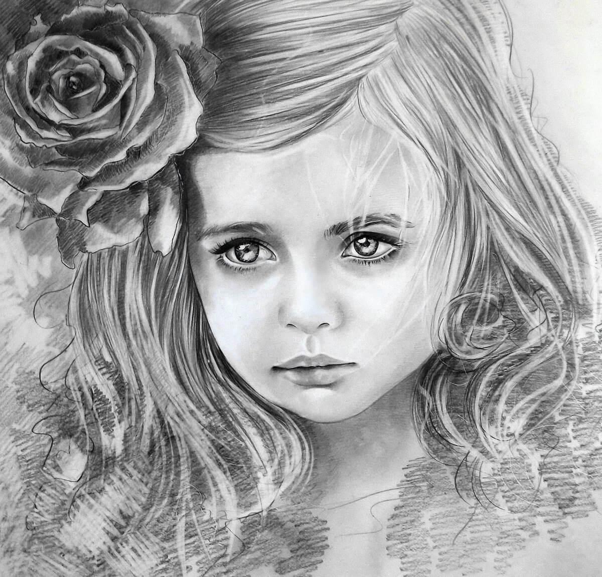 Красивые картинки карандашом девушек и девочек - подборка 13