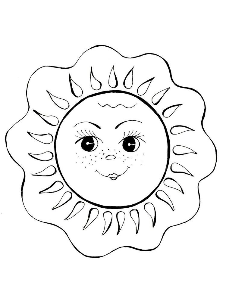 Раскраска солнышко с лучиками распечатать - бесплатно