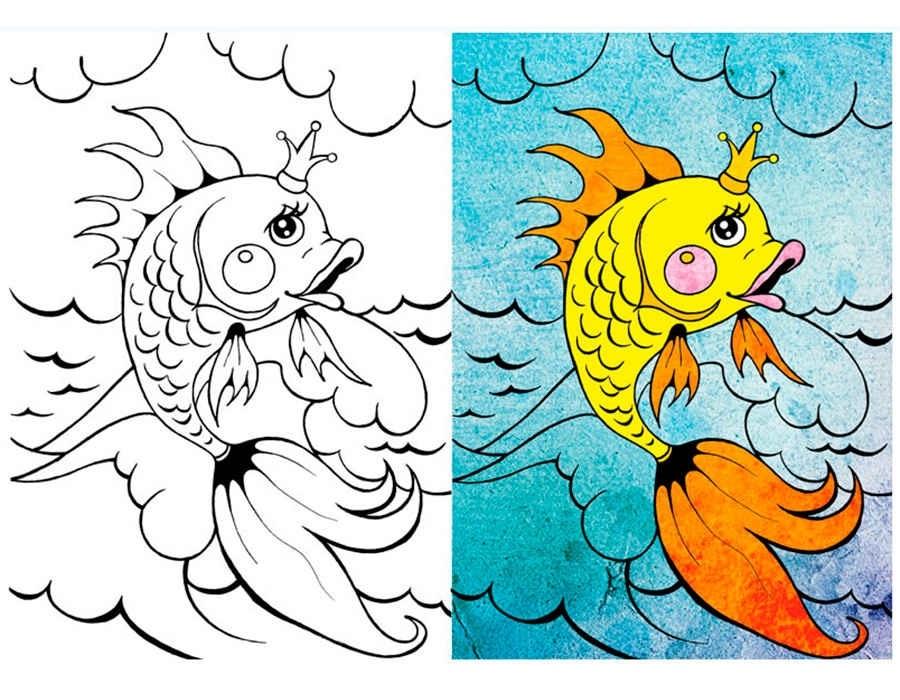 Днем, рисунок золотой рыбки