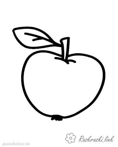Яблоко большое и маленькое раскраска - скачать