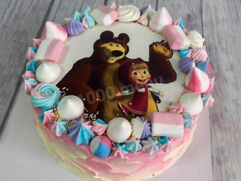 Тортик маша и медведь фотопечать