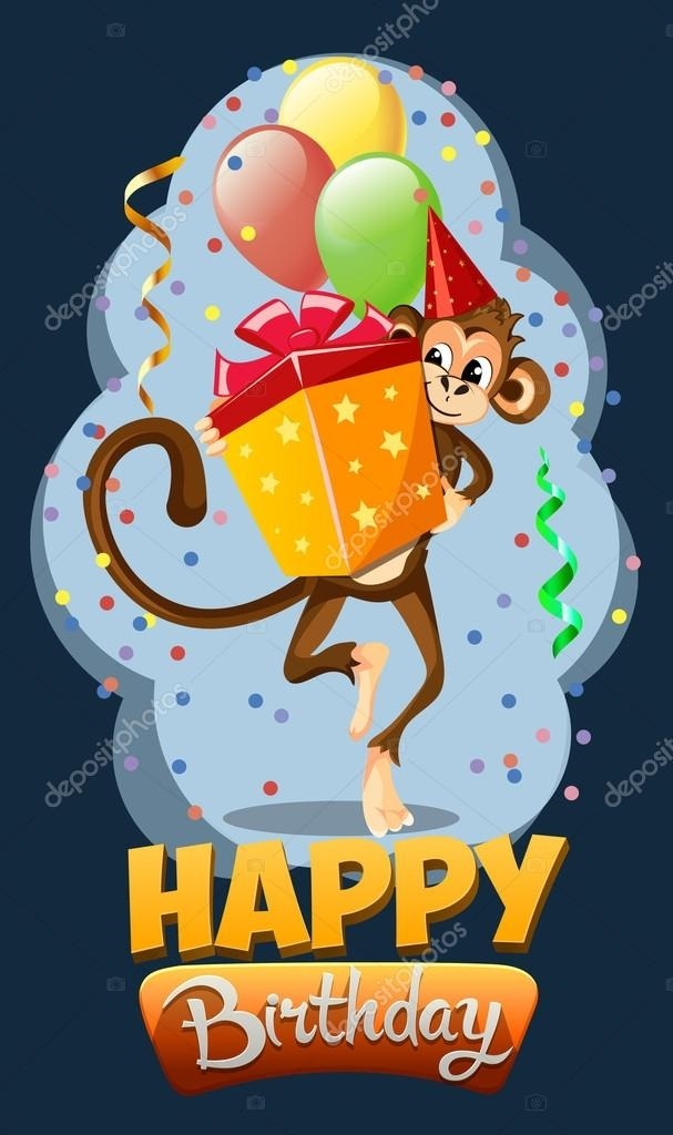 Открытка с обезьянкой на день рождения