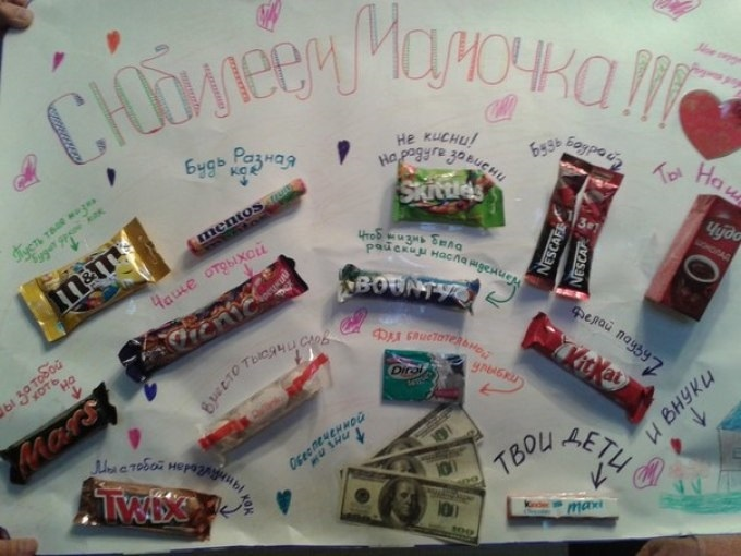 Поздравительная открытка с шоколадками своими руками