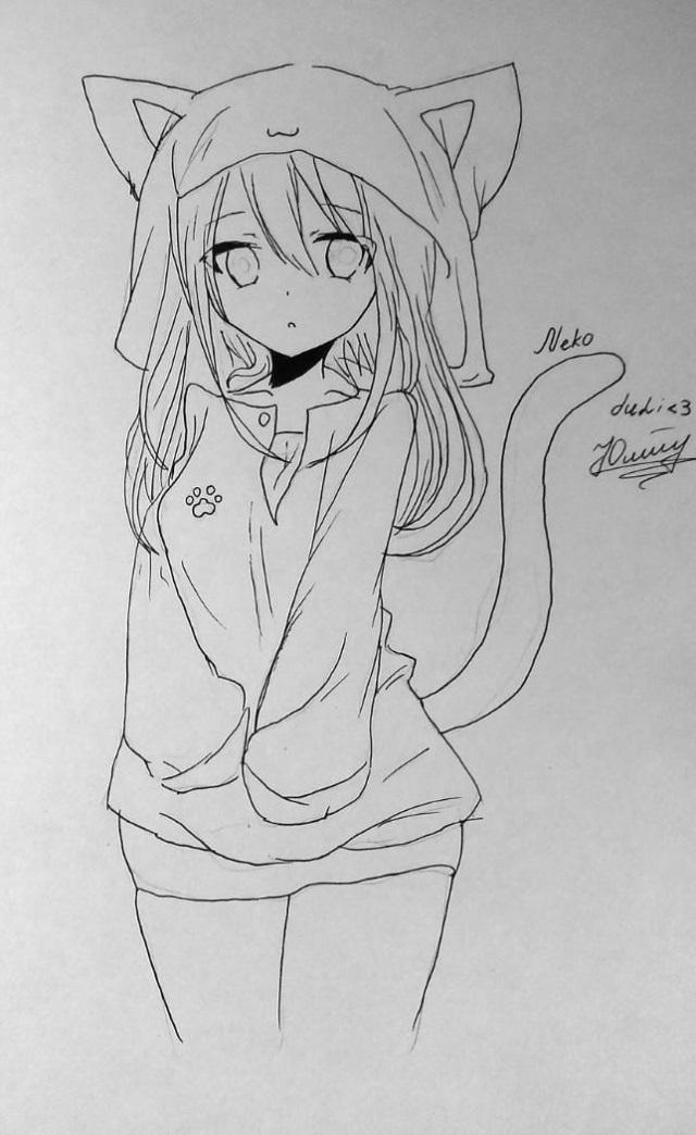 Аниме картинки девочки кошки