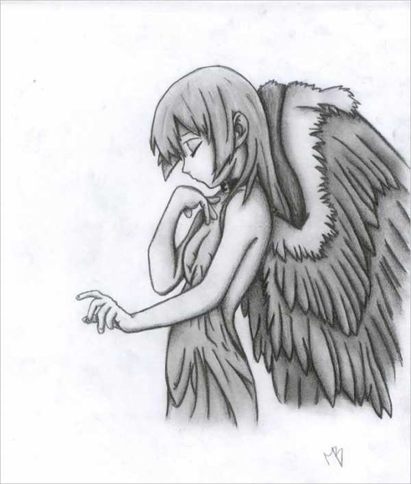 Картинки карандашом ангелы как нарисовать