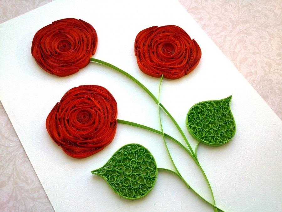 Розы для открытки своими руками