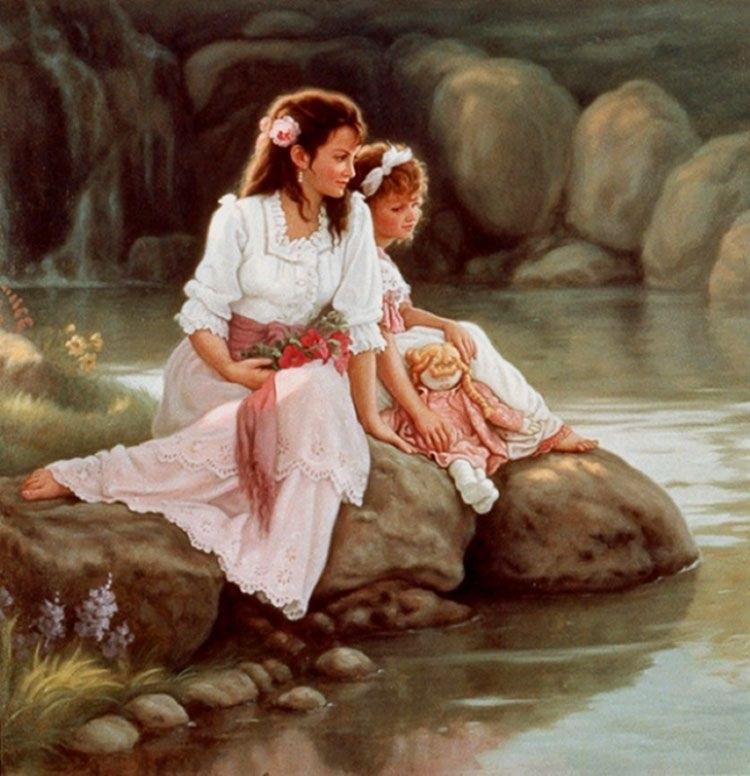 Картинки, картинки дочка с мамой рисованные