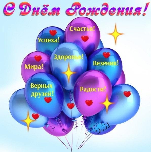 Открытки с днем рождения шарики поздравления, салют
