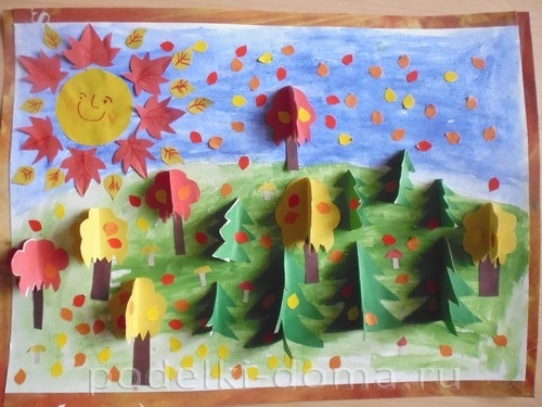 Рисунки и аппликации на тему осень для детей - подборка