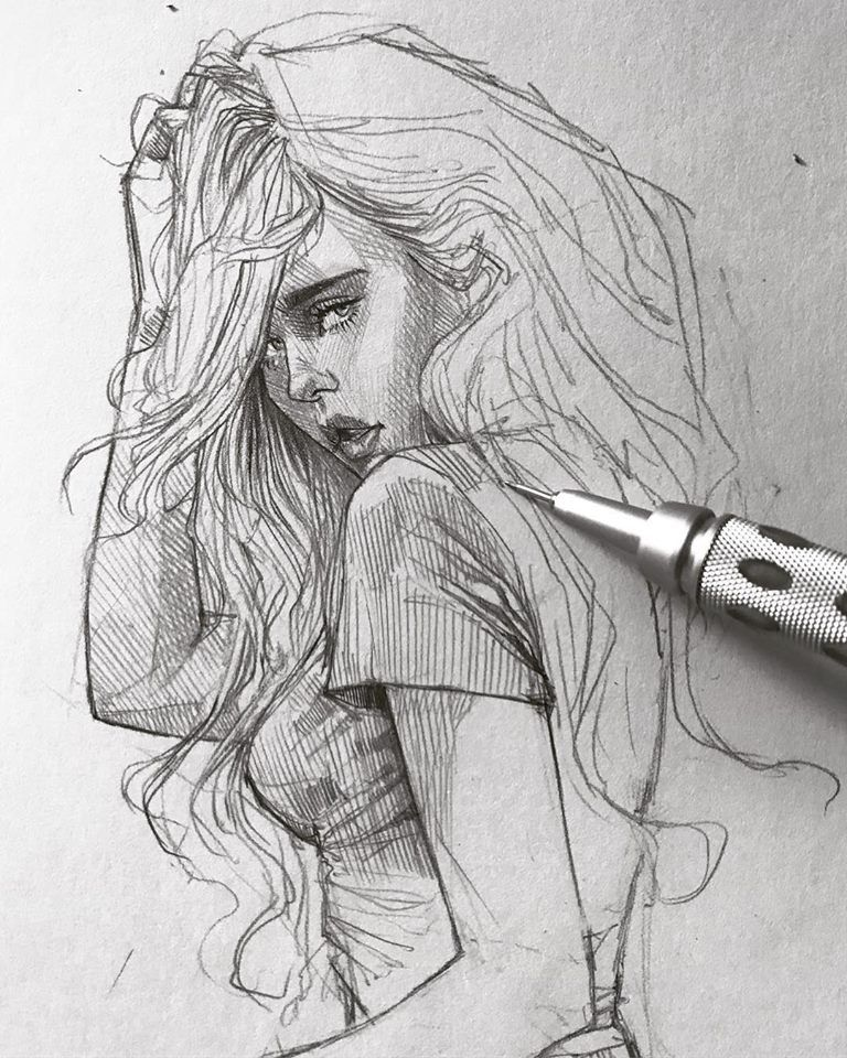 Картинки крутые девушки карандашом