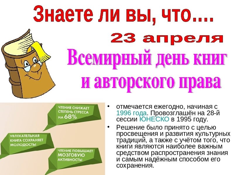 картинки 23 апреля всемирный день книги предусматривает применения