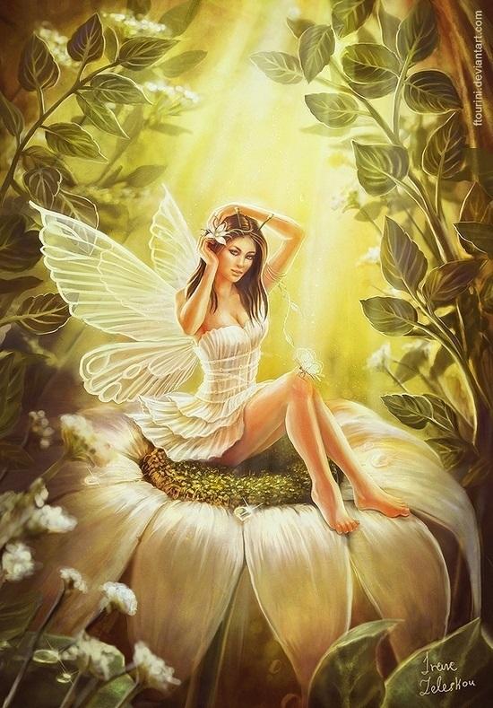 малярные картинка красивой золотой феи любовь вас согревает