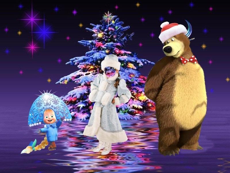 Картинки с машей и медведь новогодние